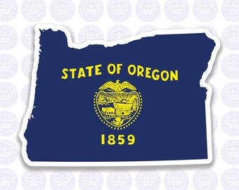 Oregon Decal - OR State Flag Decal - Oregon State Bumper Sticker - State of Oregon Decal - Oregon Flag Decal Sticker - Oregon Yeti Decal