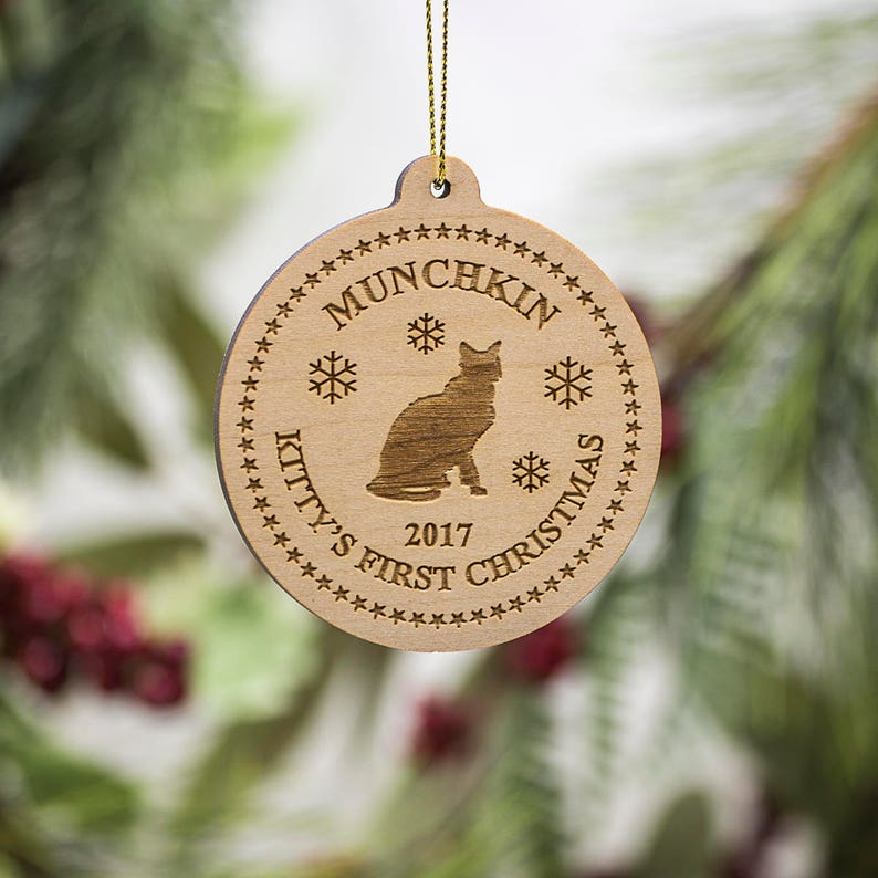 Personalized Cat Silhouette Christmas Ornament  Kittys First image 0