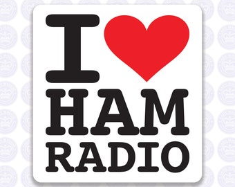 I Love Ham Radio Decal - Amateur Radio Decal - Bumper Sticker Radio Ham - I Heart Ham Radio Laptop Decal