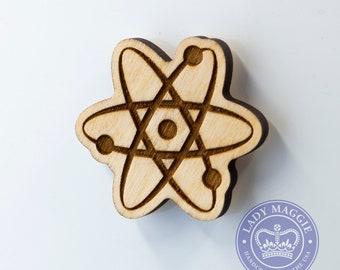Atom Magnet - Atomic Wooden Engraved Charm - Big Bang Theory Atom Wood Magnet - Atom Carved Wooden Magnet - Atomic Particles Engraved Magnet