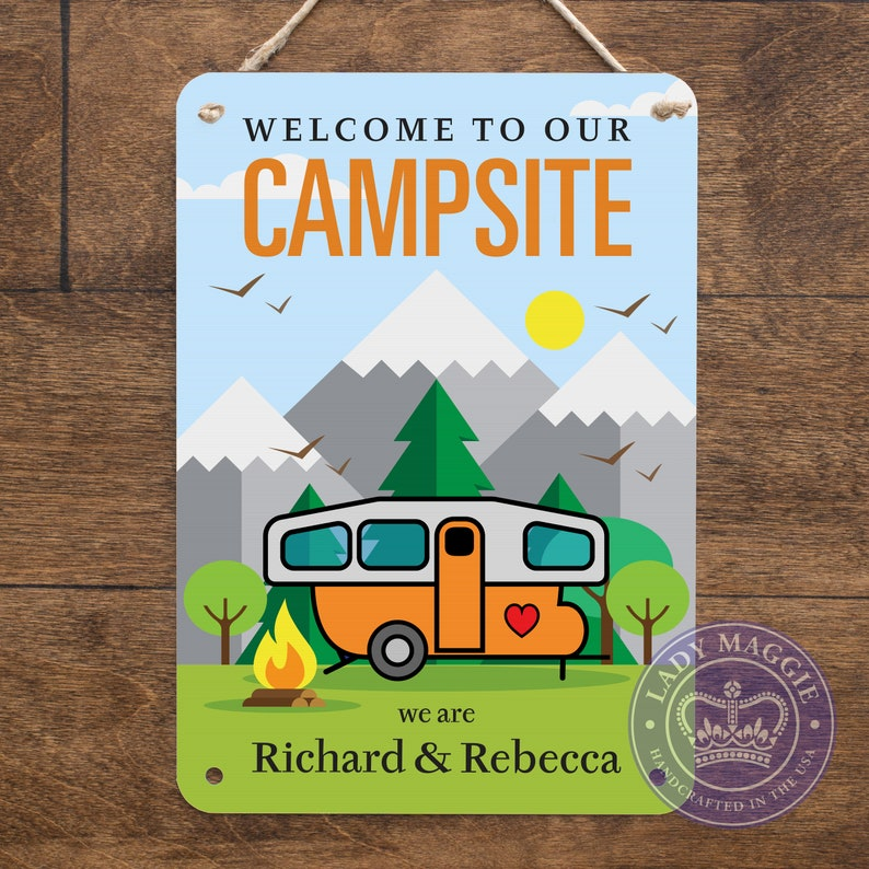 Personalized Pop Up Camper Sign  Welcome to our Campsite image 0