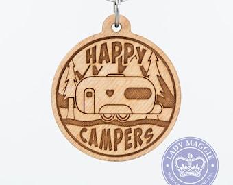 Happy Campers Double Wheel Camper Keychain - Camping Trailer Keychain - Camper Van Engraved Wood Key Ring - Camper Trailer - RV Keyring