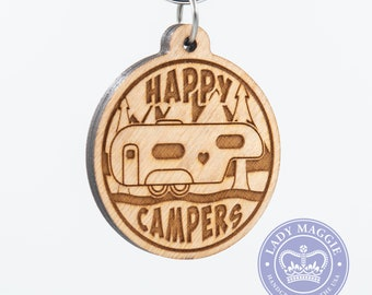 Happy Campers Fifth Wheel Camper Keychain - 5th Wheel Camper Charm - Camping Keychain - RV Engraved Wood Key Ring - Camper Trailer