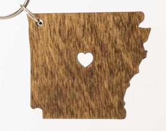 Arkansas Wooden Keychain - AR State Keychain - Wooden Arkansas Carved Key Ring - Wooden AR Charm