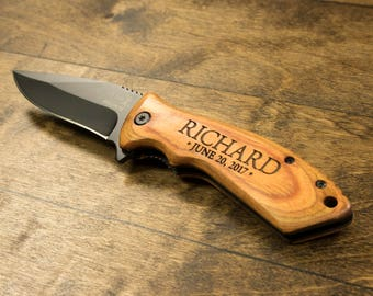 Personalized Engraved Knife - Wooden Engraved Pocket Knife - Fathers Day - Gift for Groomsmen Father of the Bride Best Man Anniversary Gift