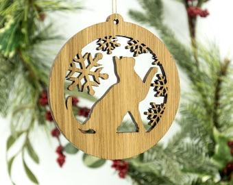 Cat Christmas Wood Ornament - Playful Cat Silhouette Laser Cut Wooden Tree Decoration - White Oak Kitty Ornament - Cat Pet Wood Ornament