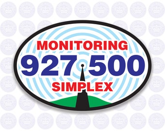 927.500 - 33cm Band - National Simplex Calling Frequency Decal - Amateur Radio Oval Decal / Sticker - Radio Ham