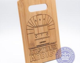 Airstream Addict Cutting Board 9x6 - Bamboo Cutting Board - Airstream themed Bamboo Cutting Board (FREE DECAL!)