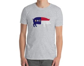 North Carolina Hog T-Shirt - State of NC Pig Shirt - North Carolina Flag Shirt - NC Pig Tee