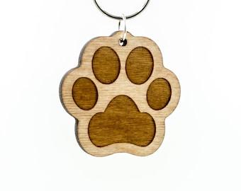 Paw Print Keychain - Dog Paw - Cat Paw Carved Wood Key Ring - Paw Print Wooden Engraved Charm - Animal Paw Print Charm