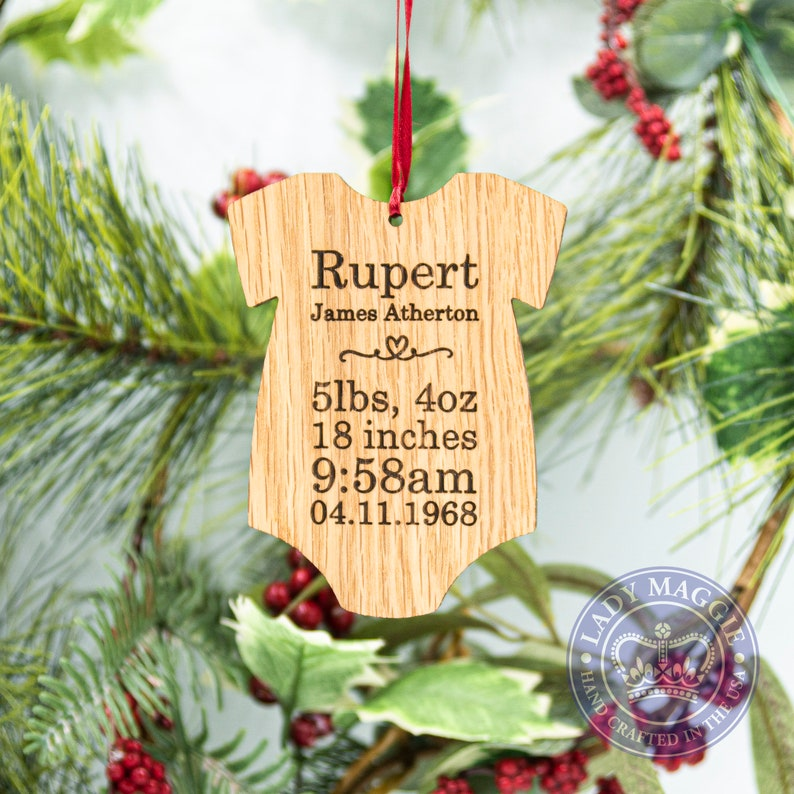 Personalized Baby Onesie Christmas Ornament  Babys First Baby's Details