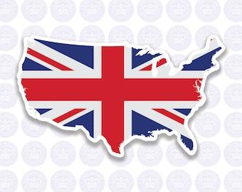 American British Flag Decal - Union Jack British Expat Decal Bumper Sticker - American British Flag - British Expat Laptop Decal - UK in USA