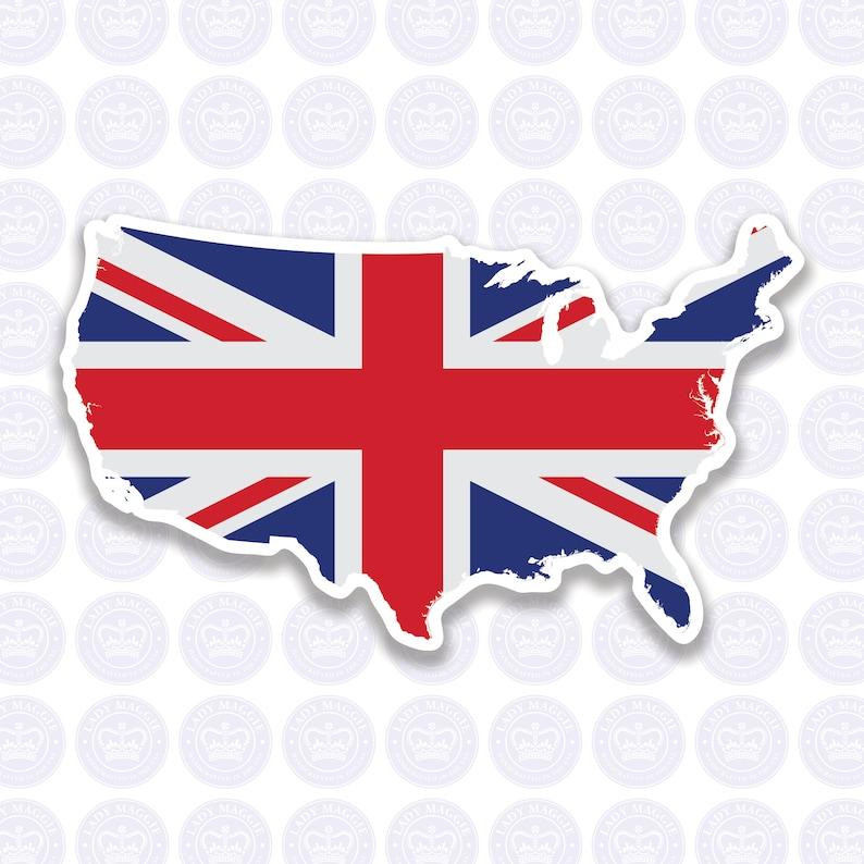 American British Flag Decal  Union Jack British Expat Decal image 0