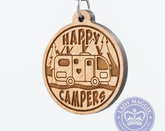 Happy Campers RV Camper Keychain - Motorhome Camper Charm - Camping Keychain - RV Engraved Wood Key Ring - Camper Trailer - RV Keyring