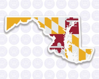 Maryland Decal - MD State Flag Decal - Maryland State Bumper Sticker - State of Maryland Decal - MD Flag Sticker - Maryland Bumper Sticker
