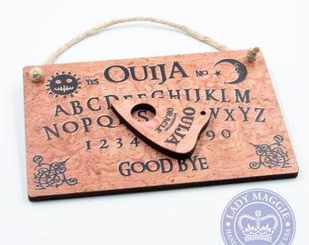 Ouija Board with Planchette - Mini Ouija Board - Travel Ouija Set - Ouija Board Sign with Planchette - Mini Ouija Board Wood Wall Hanging