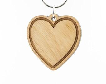 Heart Emoji Wood Keychain - Love Emoji Carved Wood Key Ring - Wooden Heart Engraved Charm - Love Heart Emoji