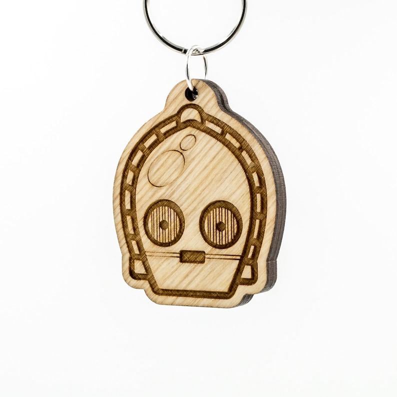 C3PO Emoji Wooden Keychain C3PO Emoji Carved Wood Key Ring C3PO Emoji Wooden Engraved Charm