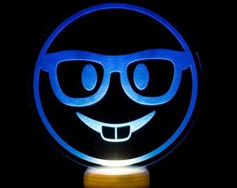 Nerd Face Emoji Night Light - Nerd Face Emoji LED Nightlight - Nerd with Glasses Emoji Light - Buck Teeth Emoji - Nerd Emoji Nightlight