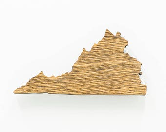 Virginia Magnet - Wooden Virginia Carved Magnet - Wooden Engraved VA Magnet - VA State Magnet