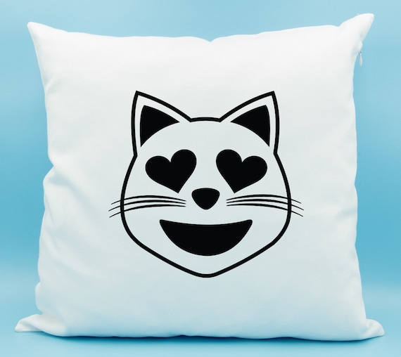 Heart Eyes Cat Emoji Pillow Smiling Cat Face With Heart Etsy Beauteous Monkey Covering Eyes Emoji Pillow
