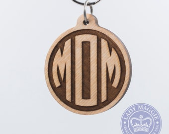 Mom Keychain - Mother Key Ring - Mom Laser Engraved Wooden Charm - Personalized Mom Keychain