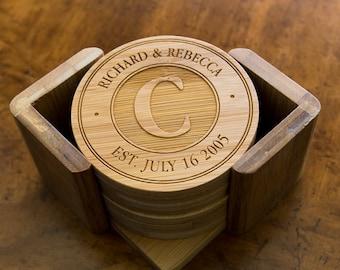 Personalized Bamboo Coasters - Custom Engraved Set 6 Round Bamboo Coasters with Holder - Monogram Coasters - Wedding Gift - Anniversary Gift
