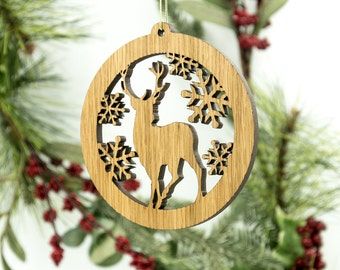 Deer Christmas Wood Ornament - Wildlife Silhouette Laser Cut Wooden Tree Decoration - White Oak Stag Ornament - Woodland Animal Ornament