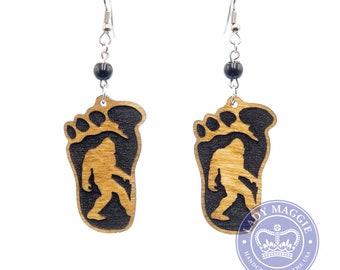 Bigfoot Earrings - Sasquatch Engraved Wooden Earrings - Big Foot Earrings - Yeti Earrings - Bigfoot Charm Earrings - Squatch Earrings