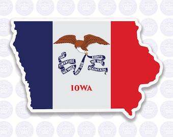Iowa Decal -IA State Flag Decal - Iowa State Bumper Sticker - State of Iowa Decal - IA Flag Sticker - Iowa Bumper Sticker