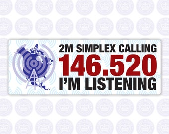 146.520 - 2m National Simplex Calling Frequency Decal - Amateur Radio Rectangle Decal / Sticker - Radio Ham
