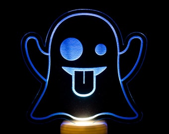 Ghost Emoji Night Light - Ghost Emoticon Emoji LED Nightlight - Friendly Ghost Emoji Light - Ghost Night Light