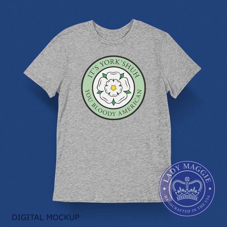 Yorkshire T-shirt  British Expat Shirt  White Rose of image 0