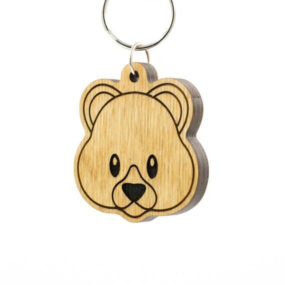 teddy bear emoji keychain bear face emoji carved wood key etsy
