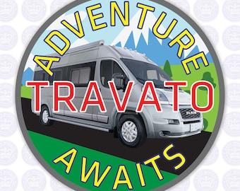 Travato Adventure Awaits Decal - Class B Camper Van Bumper Sticker - VanLife Decal - Winnebago Travato Campervan - RV Yeti Decal