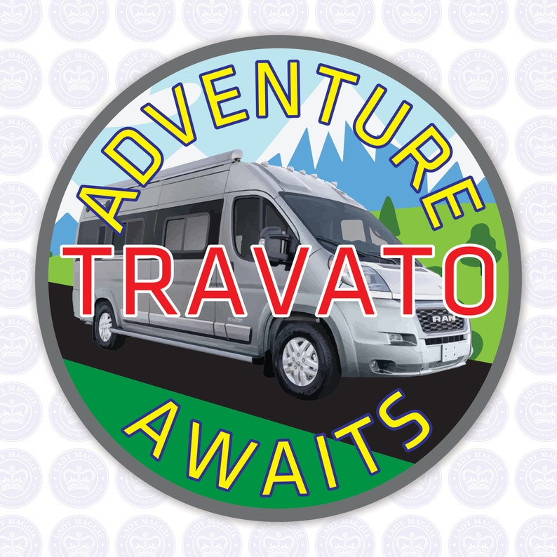 Travato Adventure Awaits Decal  Class B Camper Van Bumper image 0