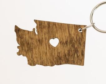 Washington Wooden Keychain - WA State Keychain - Wooden Washington Carved Key Ring - Wooden WA Charm - Washington State Keychain