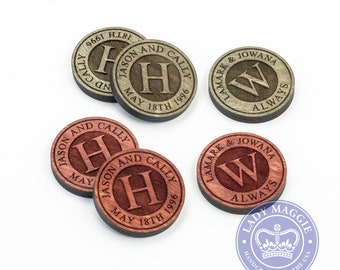Personalized Checkers Pieces - Custom Engraved Checkers - Custom Monogram Checkers Tokens - Game Pieces - Wedding Gift - Anniversary Gift