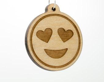 Heart Eyes Emoji Keychain - Smiling Face with Heart Shaped Eyes Emoji Carved Wood Key Ring - Love Emoji Wooden Engraved Charm