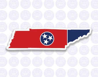Tennessee Decal - TN State Flag Decal - Tennessee State Bumper Sticker - State of Tennessee Decal - TN Flag Sticker - Tennessee Sticker