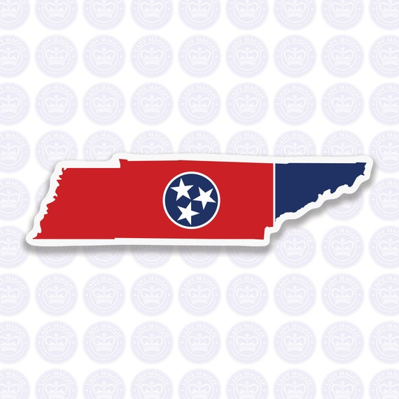 """Printed vinyl decal sticker 2/"""" Tennessee flag"""