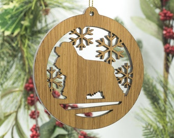 Cocker Spaniel Christmas Ornament - Spaniel Dog Silhouette Wooden Tree Decoration - American Cocker Spaniel Laser Cut Wood Ornament