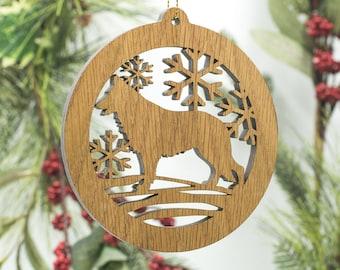 German Shepherd Christmas Ornament - German Shepherd Dog Silhouette Cut Wooden Tree Decoration - Alsatian Ornament - GSD Wood Dog Ornament