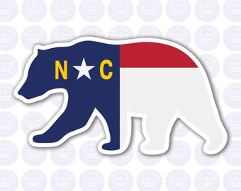 Bear North Carolina Decal - NC Bear State Flag Decal - North Carolina Black Bear Bumper Sticker - State of NC Decal - NC Flag Decal