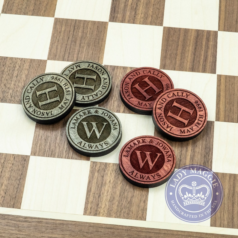 Personalized Checkers Game  Custom Engraved Checkers Grey & Red