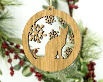 Cat Christmas Wood Ornament - Sitting Cat Silhouette Laser Cut Wooden Tree Decoration - White Oak Kitty Ornament - Cat Ornament