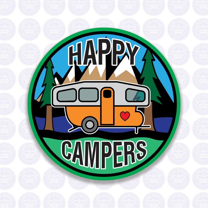 Happy Campers Pop-up Camper Decal  Camping Trailer Bumper image 0