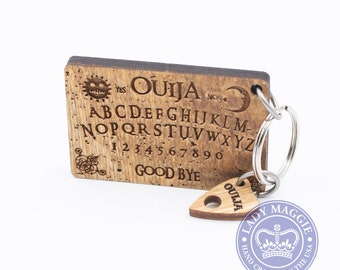 Rustic Ouija Board with Planchette Keychain Set - Mini Ouija Board & Planchette Keyring Ouija Mystifying Oracle Planchette Engraved Charm