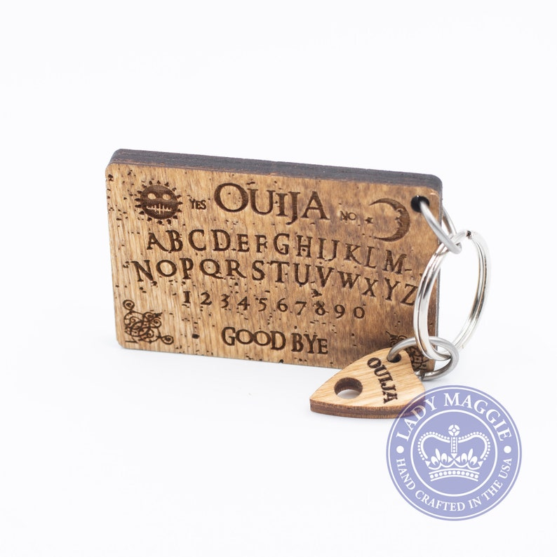 Rustic Ouija Board with Planchette Keychain Set  Mini Ouija image 0