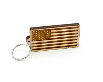 American and British Flag Keychain - Expat Flag Carved Wood Key Ring - Stars & Stripes and Union Jack Wooden Engraved Charm